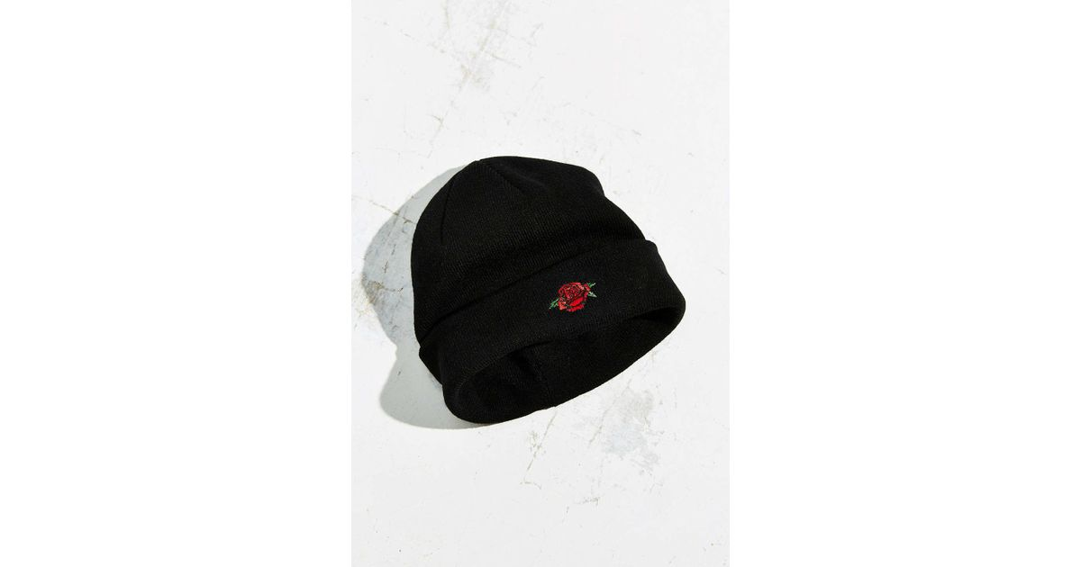 1fc3957e14f Lyst - Obey Rose Society Beanie in Black