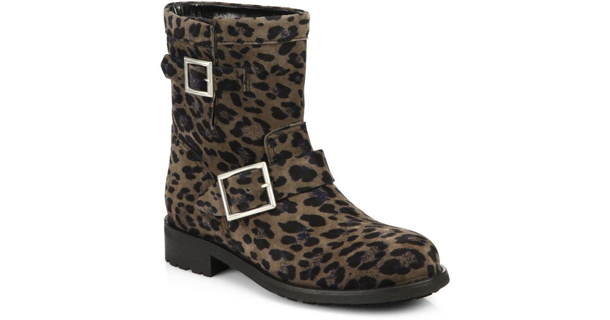 e363e609939 Lyst - Jimmy Choo Leopard Print Suede Biker Boots in Natural