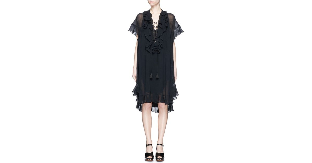 Lyst Chlo Ruffle Lace Up Cotton Crpon Dress In Black
