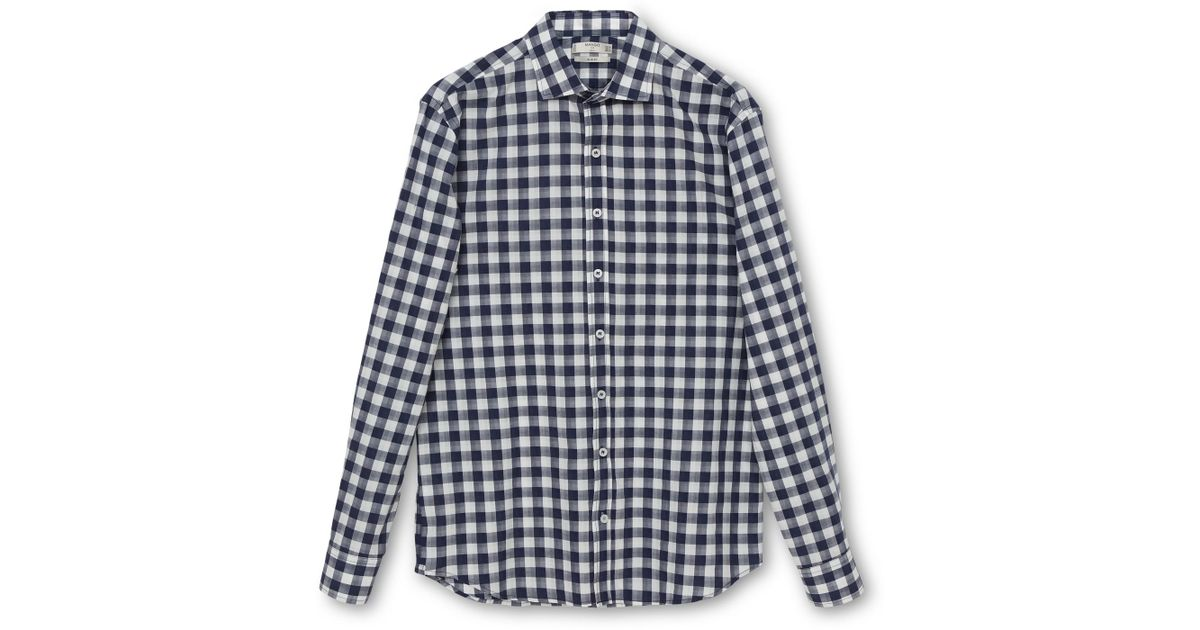 Mango Cheq Slim Fit Gingham Check Shirt In Gray For Men Lyst