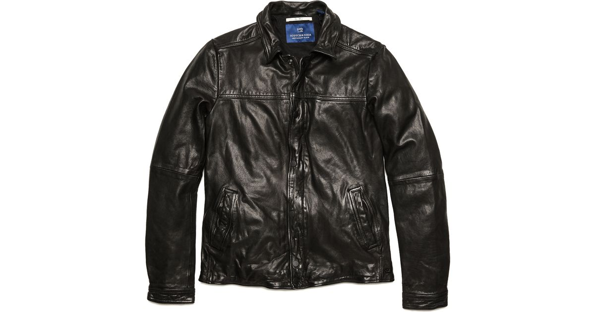 Lyst Scotch Soda Vintage Style Leather Jacket In Black For Men