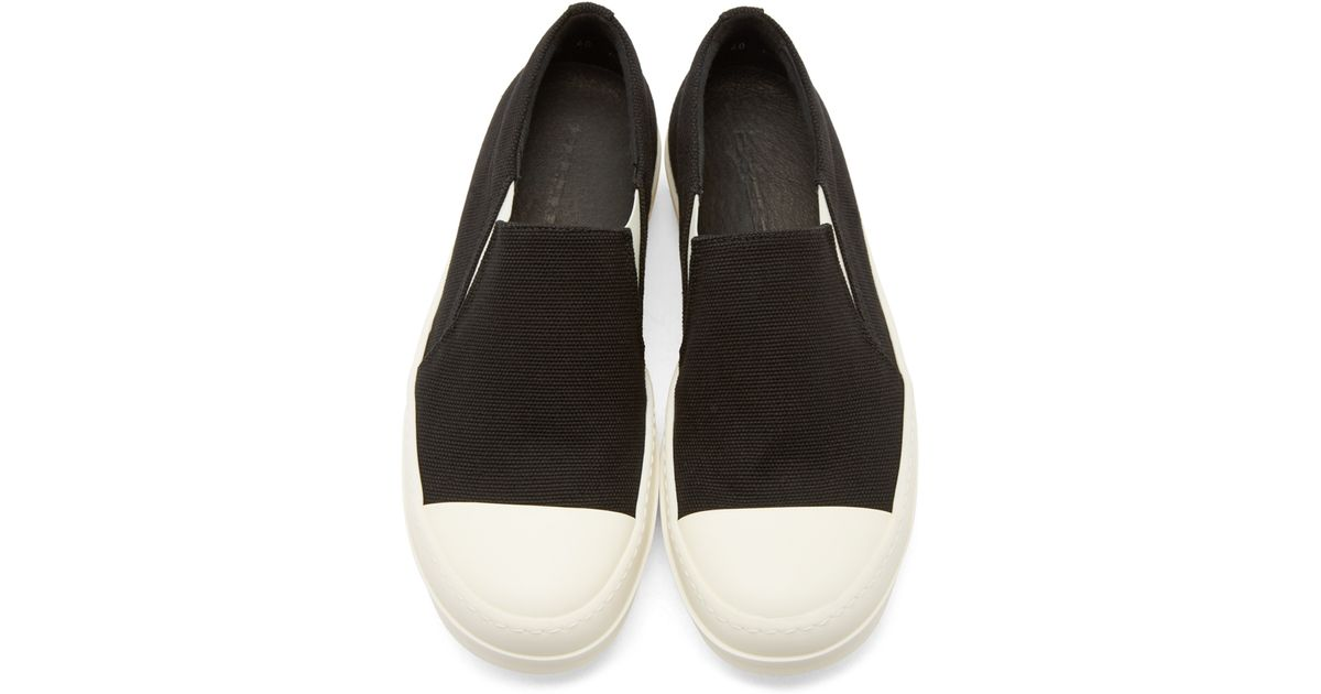 lyst drkshdw by rick owens black canvas slip on boat sneakers in