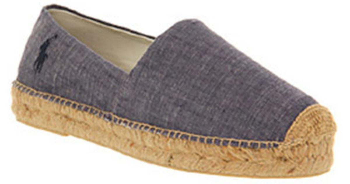 Ralph Lauren Casual Shoes Mooretown Espadrille Blue Chambray Canvas