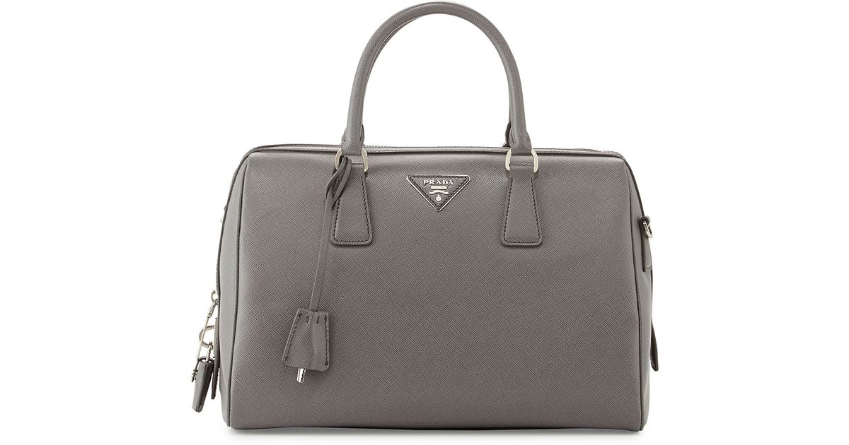 972f28eec2c5a4 Prada Saffiano Lux Bowler Bag with Strap in Gray - Lyst