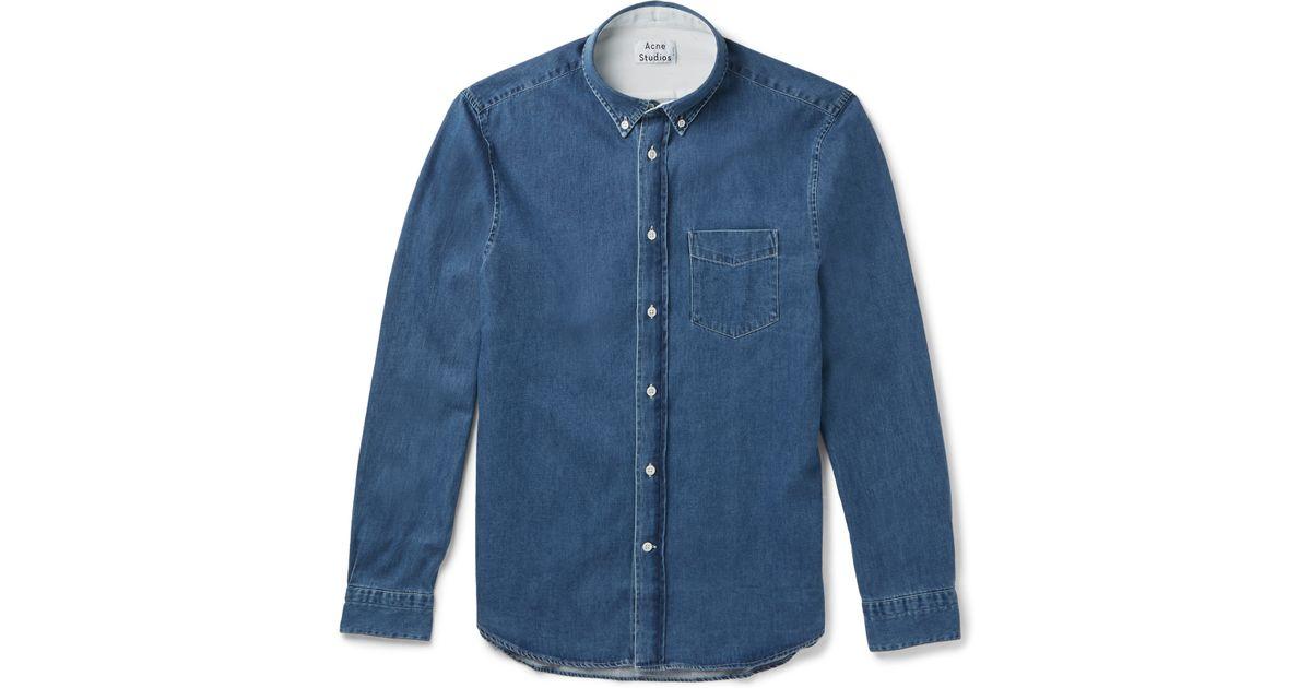 6e0643b59c7 Acne Studios Isherwood Slim-fit Button-down Collar Washed-denim Shirt in  Blue for Men - Lyst