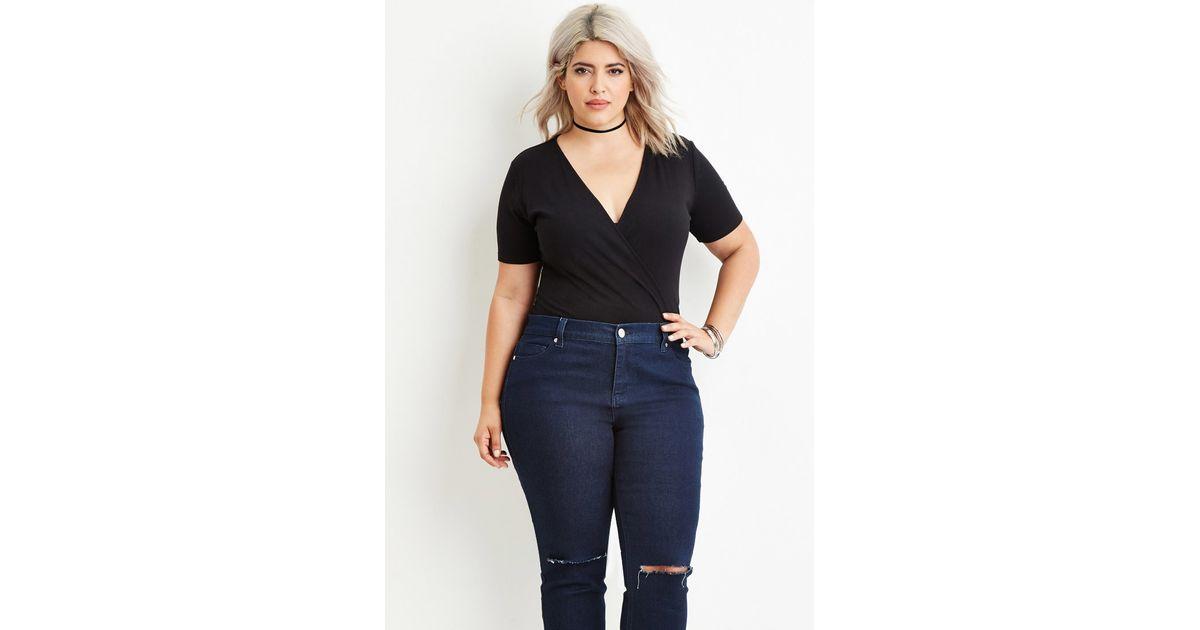 Lyst Forever 21 Plus Size Ribbed Surplice Bodysuit In Black