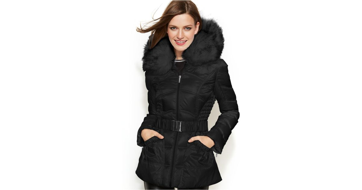 be29185c209 Lyst - Laundry by Shelli Segal Faux-Fur-Hooded Belted Down Puffer Coat in  Black