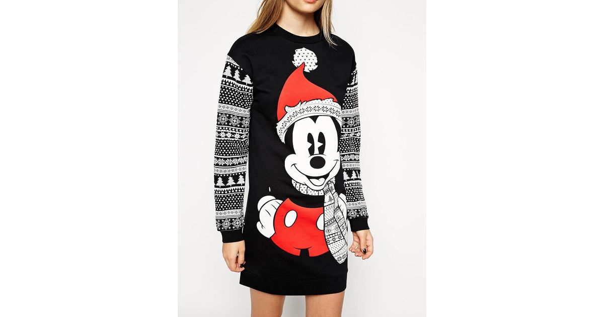 lyst asos jumper dress in christmas mickey mouse fairisle print - Mickey Mouse Christmas Sweater