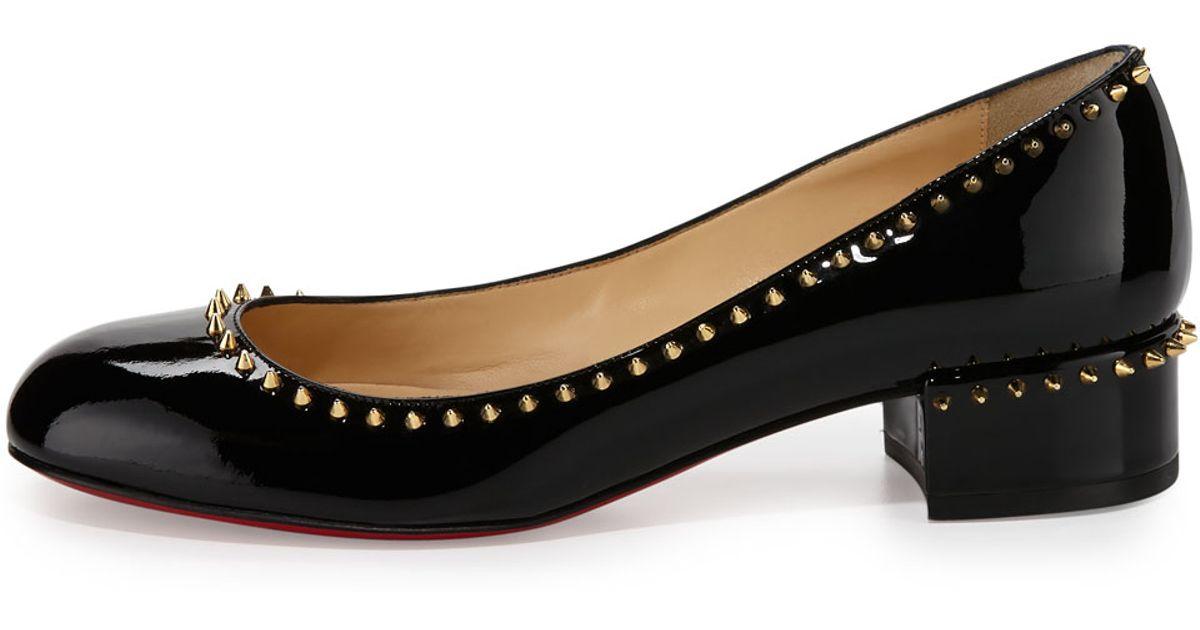 lyst christian louboutin treliliane patent leather pumps in black rh lyst com