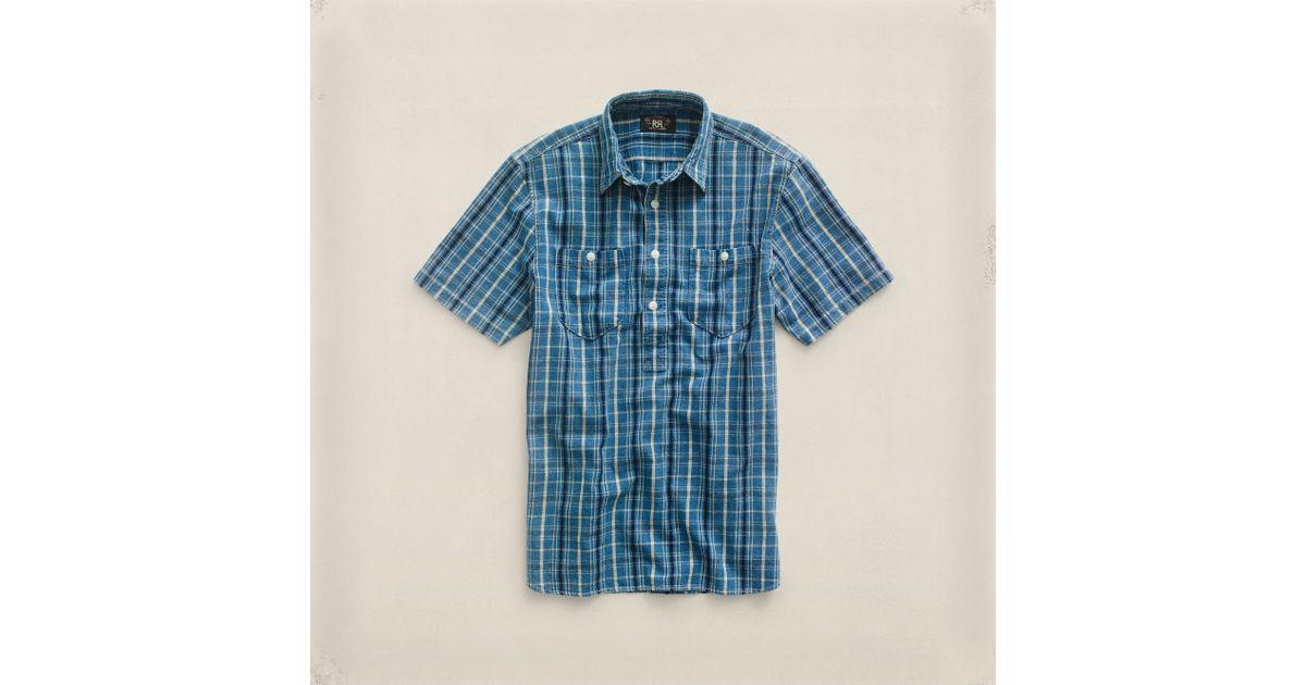 f6b872a1 RRL Cotton Surplus Popover Shirt in Blue for Men - Lyst