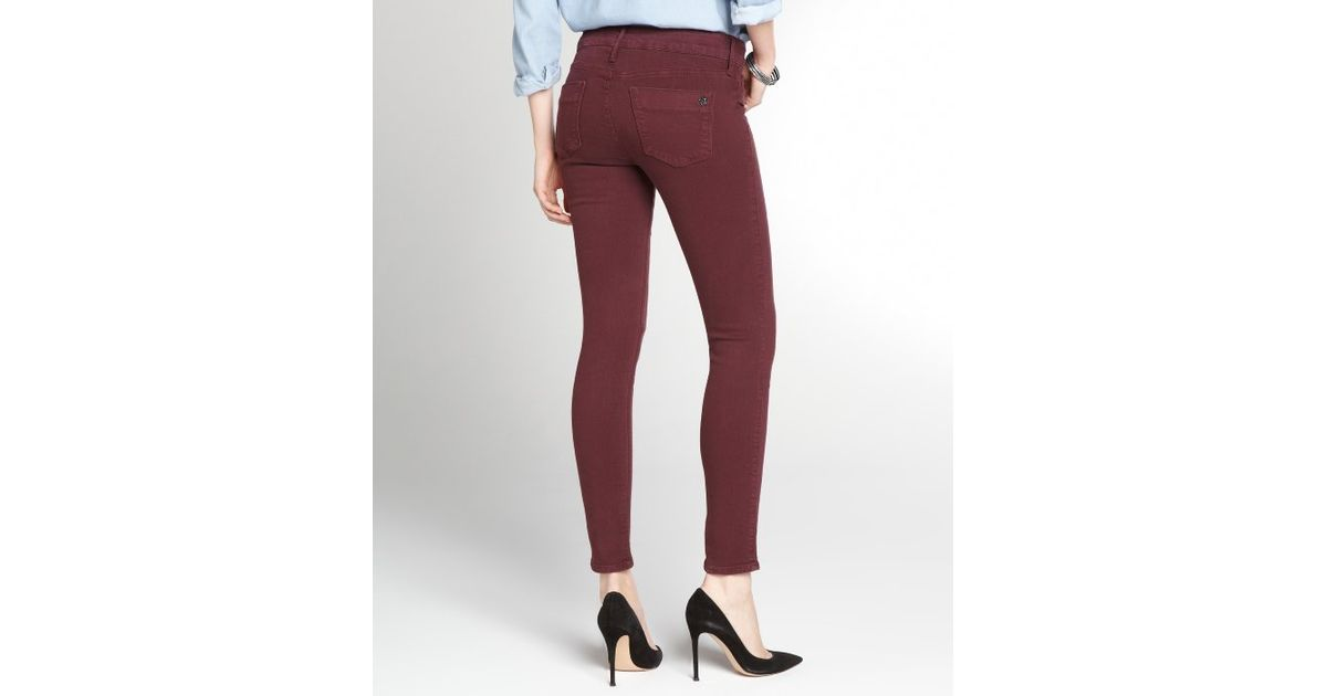 e2fc1f26efa3c Lyst - Black Orchid Wine Stretch Cotton Mid Rise Skinny Jeans in Purple