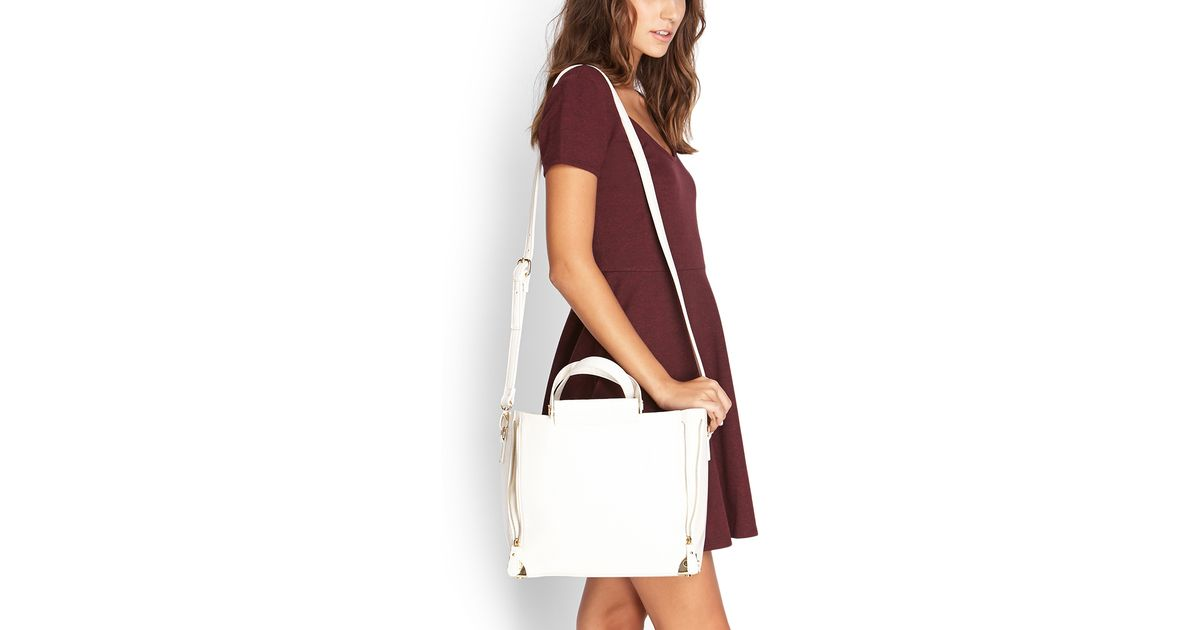 eabfe3225b Lyst - Forever 21 Faux Leather Trapeze Bag in White