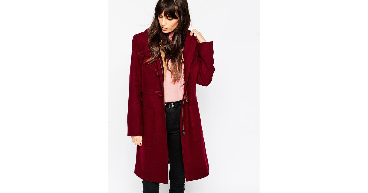Asos Duffle Coat In Longline in Red | Lyst