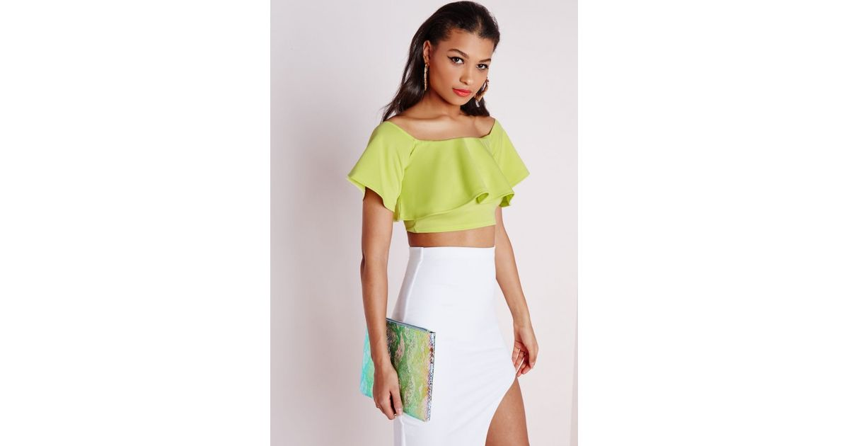e950614cb2117 Lyst - Missguided Lime Bardot Frill Crop Top in Green