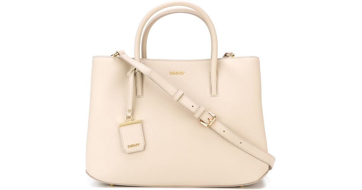 Lyst Dkny Saffiano City Zip Tote In Natural