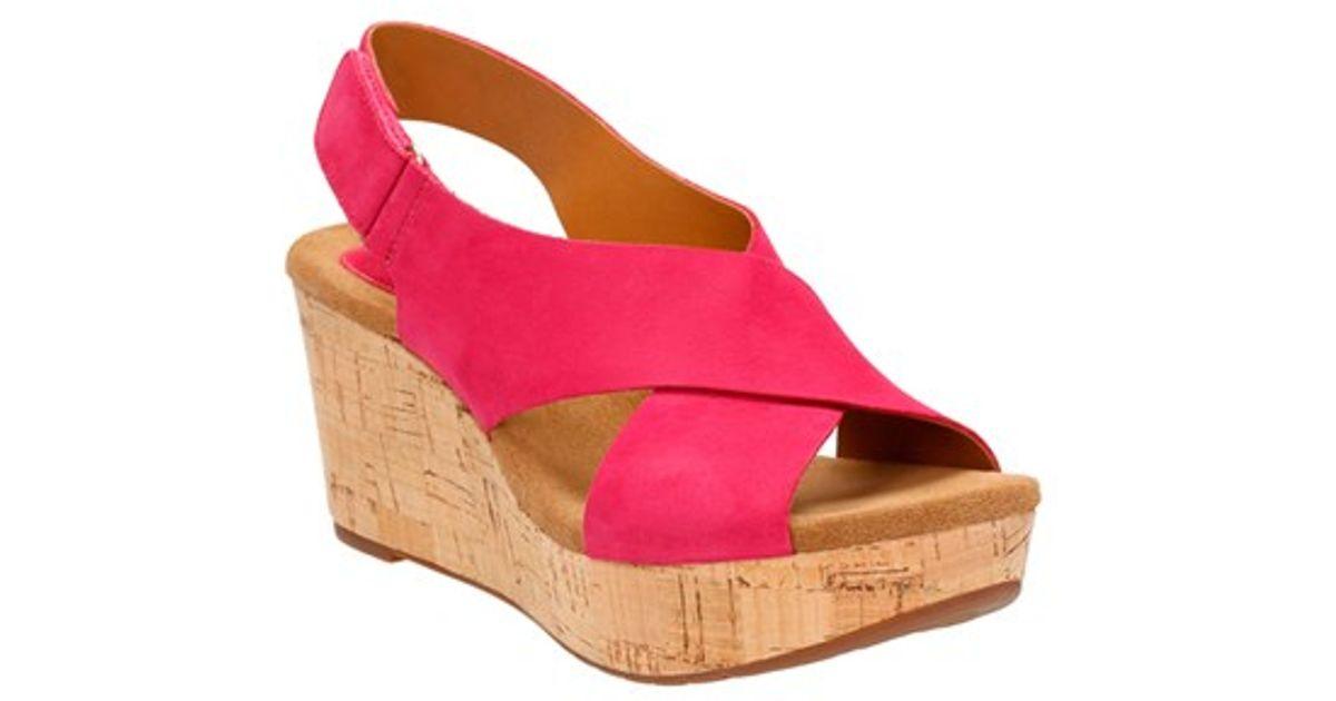 modern design biggest selection limited style Clarks Pink Caslynn Shae Nubuck Wedge Sandals