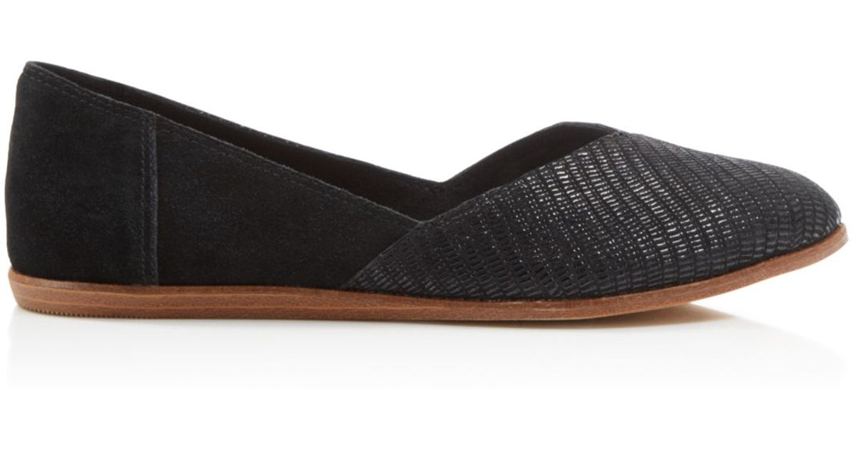 984817973f5 Lyst - TOMS Jutti Embossed Suede Flats in Black