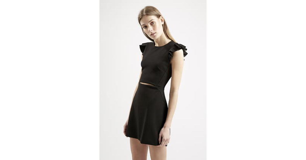 61c3f89146 TOPSHOP Frill Sleeve Cut-Out A-Line Dress in Black - Lyst