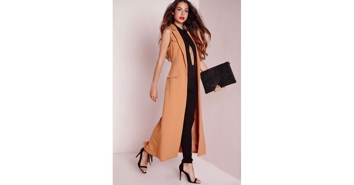 9e7bd7d04d282f Lyst - Missguided Sleeveless Longline Utility Duster Jacket Camel in Natural