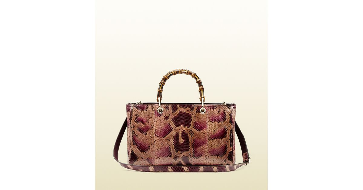 7dc27250641d9f Gucci Bamboo Shopper Python Tote in Red - Lyst