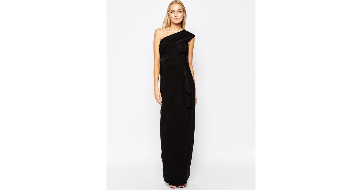 aedb9e413d630 Isabella Oliver One Shoulder Maxi Dress in Black - Lyst