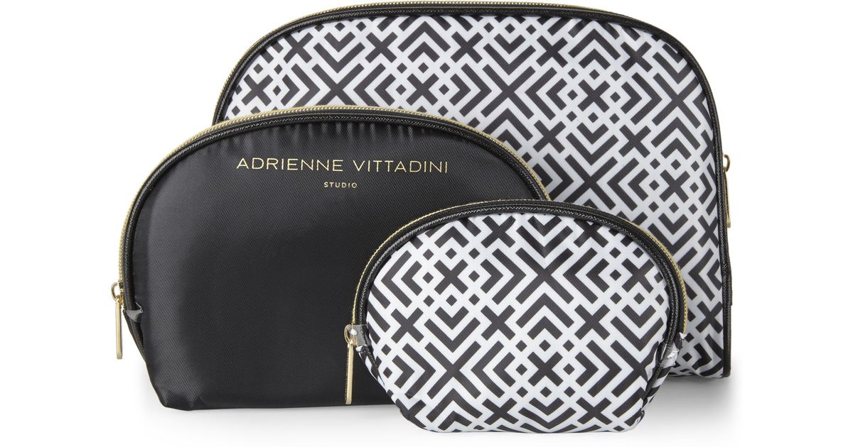 2ccdb645806f Lyst Adrienne Vittadini Set Of 3 Black White Dome Cosmetic Bags
