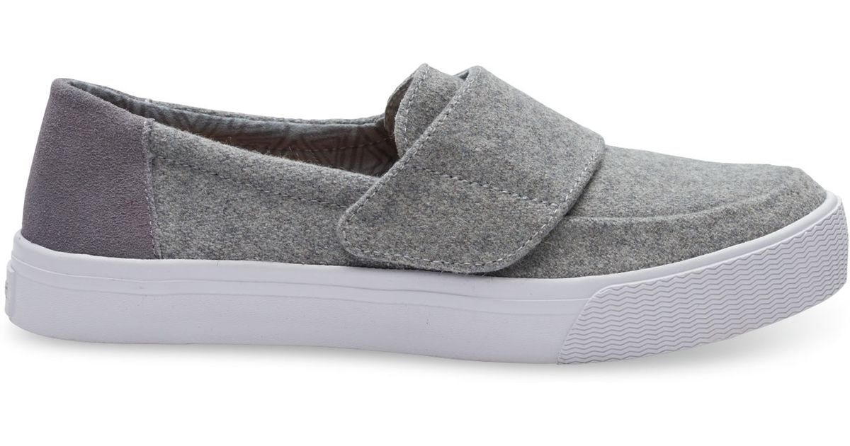 Toms Grey Felt Suede Women S Altair Slip Ons Shoes Size