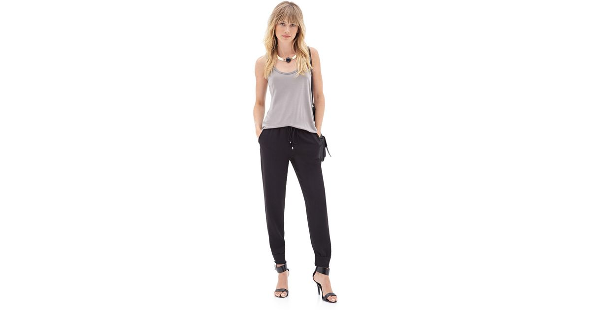 a22f9a535b239 Lyst - Forever 21 Contemporary Zippered Crepe Drawstring Joggers You ve  Been Added To The Waitlist in Black