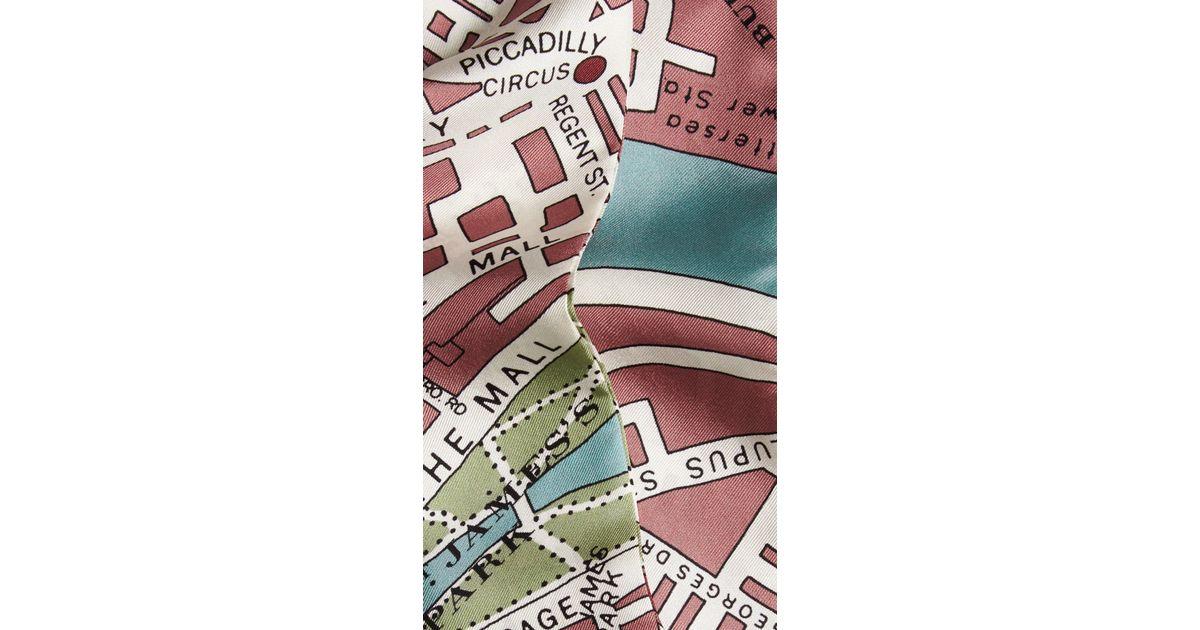 Burberry London Map Print Slim Silk Scarf Lyst