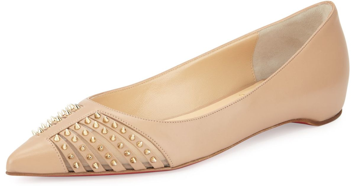 knock off shoes for sale - Christian louboutin Baretta Studded Red Sole Skimmer Flat in Beige ...