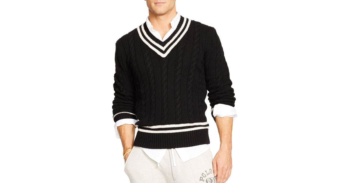 Knitting Pattern For Cricket Sweater : Ralph lauren Polo Cable-Knit Cricket Sweater in Black for Men Lyst