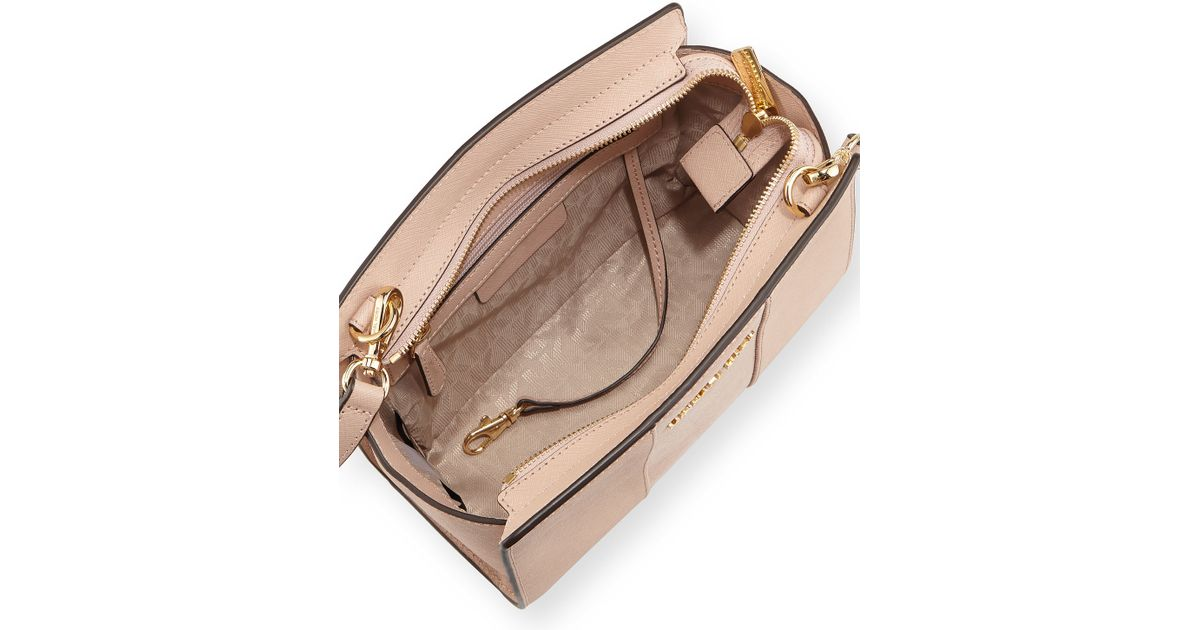 9cefa98711c2 Lyst - MICHAEL Michael Kors Selma Medium Saffiano-Leather Messenger Bag in  Natural