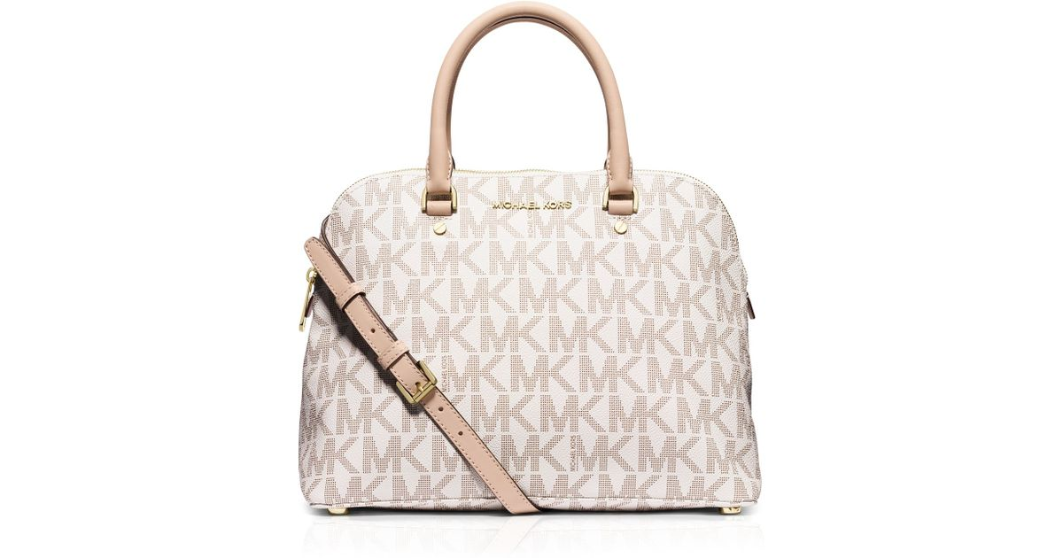 Lyst Michael Kors Satchel Large Cindy Mk Signature Dome In White