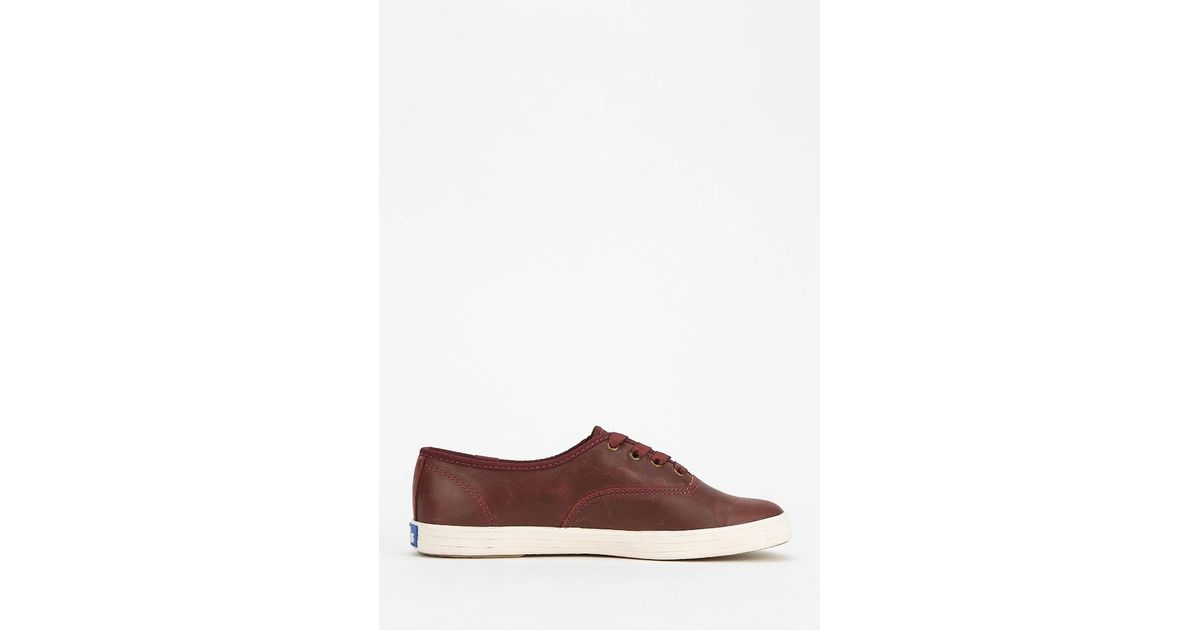 5eea07f2708 Keds Champion Burgundy Leather Sneaker in Red - Lyst