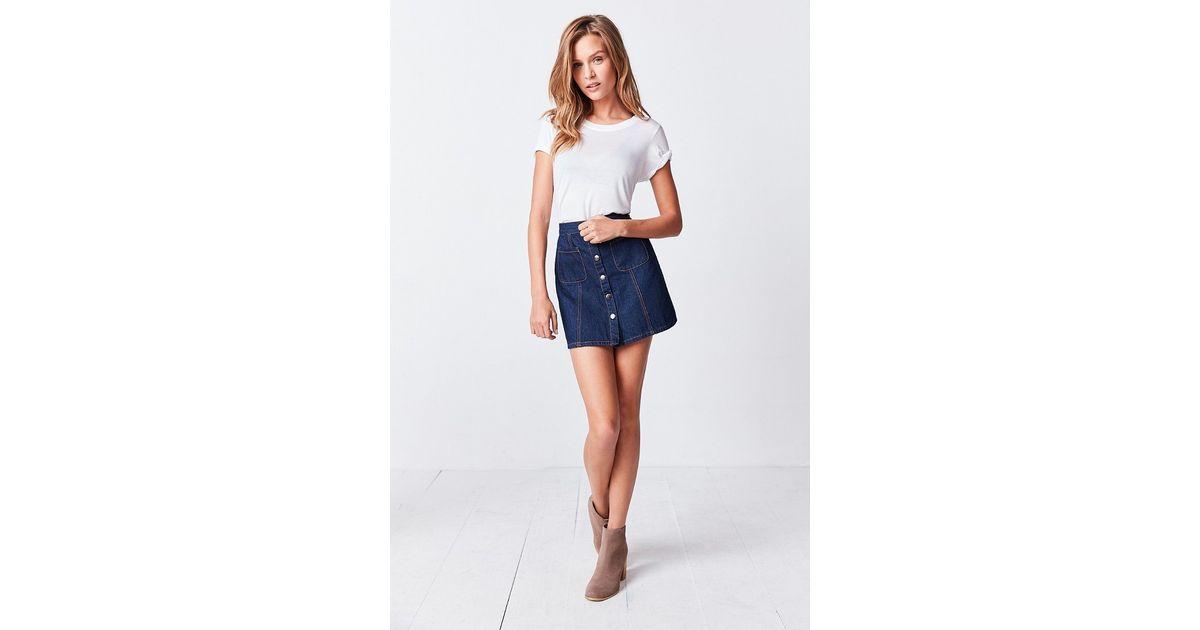 bdg denim button front skirt in blue blue lyst