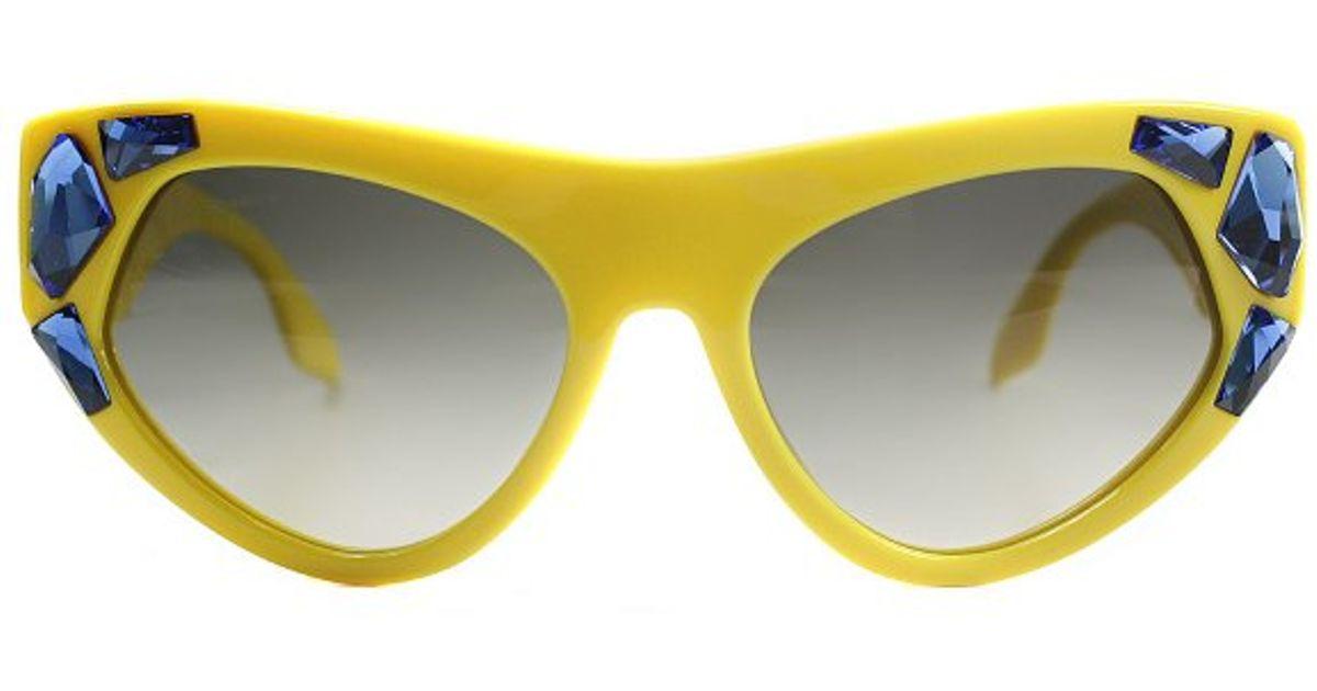 4153b671ad35 ... australia lyst prada voice pr 21qs tfa0a7 yellow with blue stones  plastic fashion cat eye sunglasses
