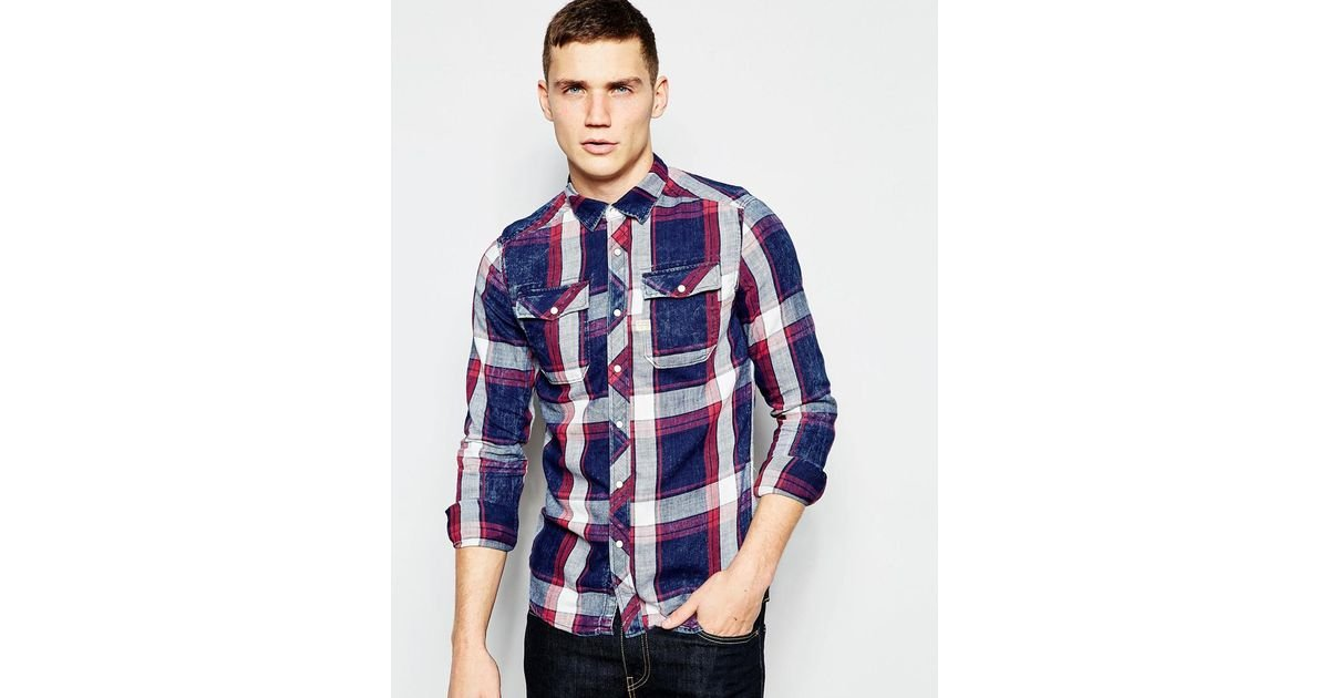 3af0ac863ef G-Star RAW Shirt Landoh Indigo Bors Check Rinsed in Blue for Men - Lyst