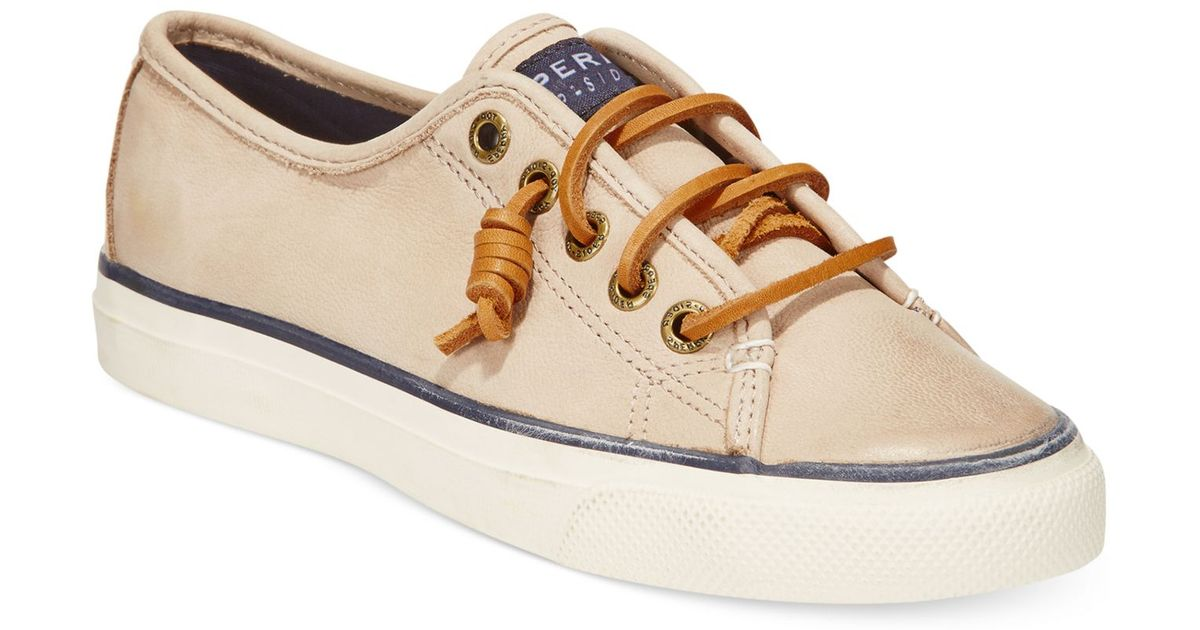 f7644a27bac375 Lyst - Sperry Top-Sider Women's Seacoast Leather Sneakers in White sperry  top sider seacoast