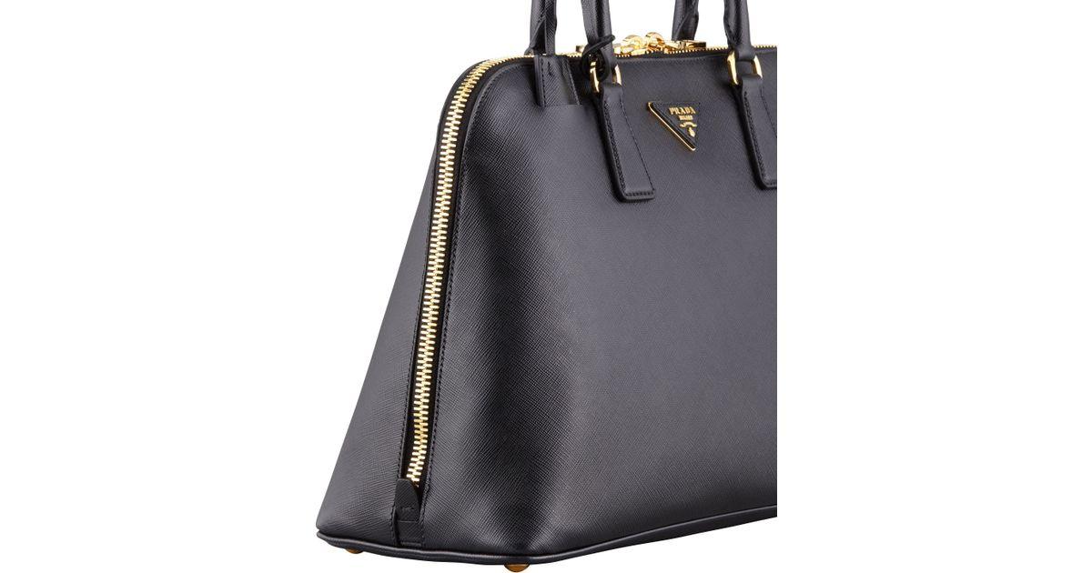 4545a1cade0e9d Prada Saffiano Medium Promenade Bag in Black - Lyst