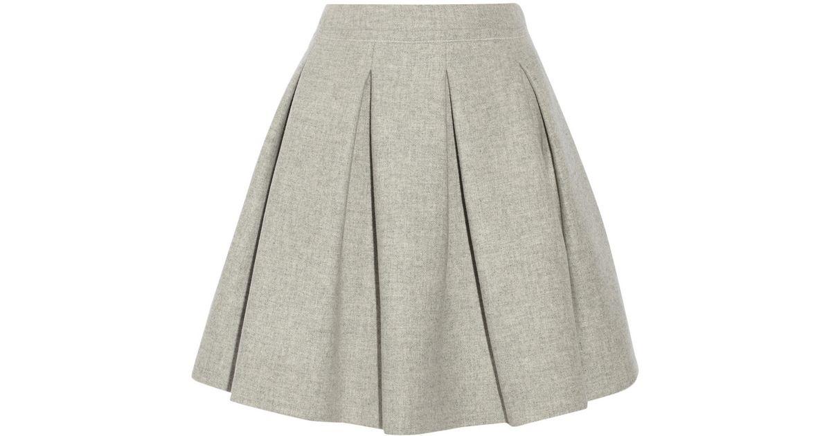 c679ca0ec6 Miu Miu Pleated Wool Mini Skirt in Gray - Lyst