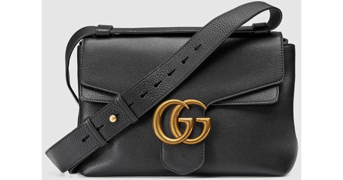 0b2672ba0 Gucci Gg Marmont Leather Shoulder Bag in Black - Lyst