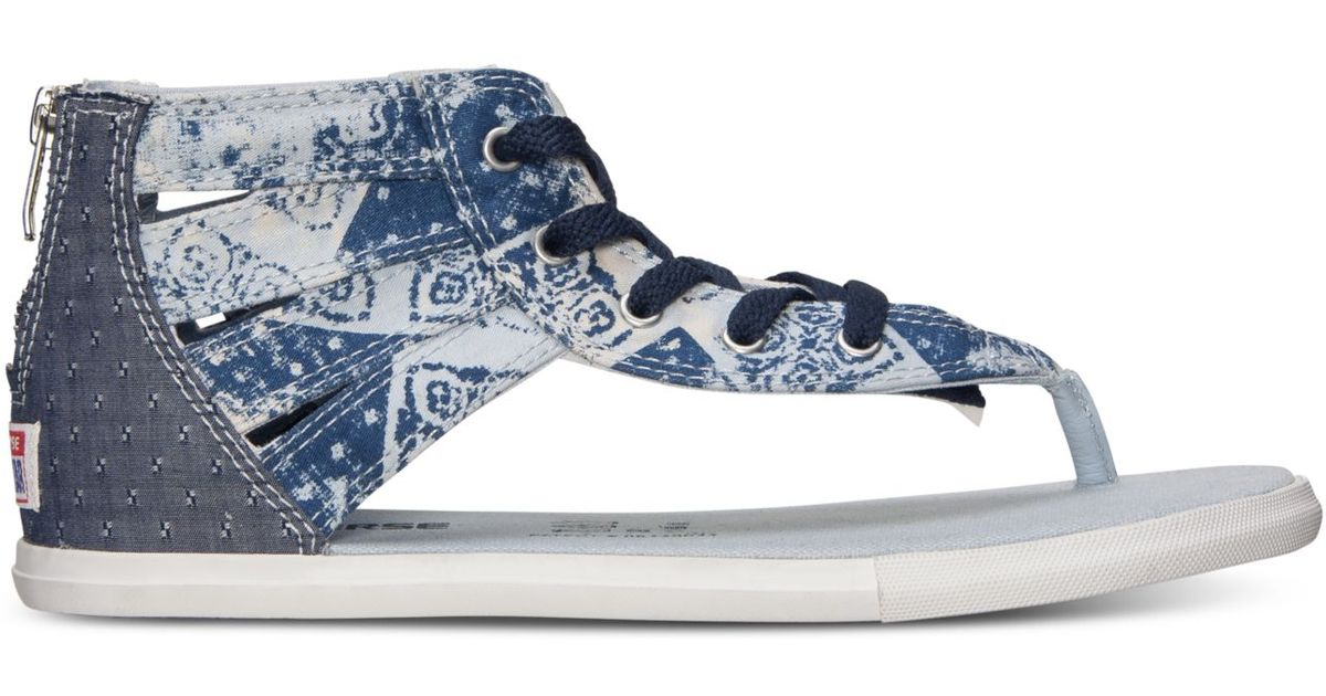 35f6300516f881 Lyst - Converse Women s Chuck Taylor Gladiator Thong Sandals From Finish  Line in Blue