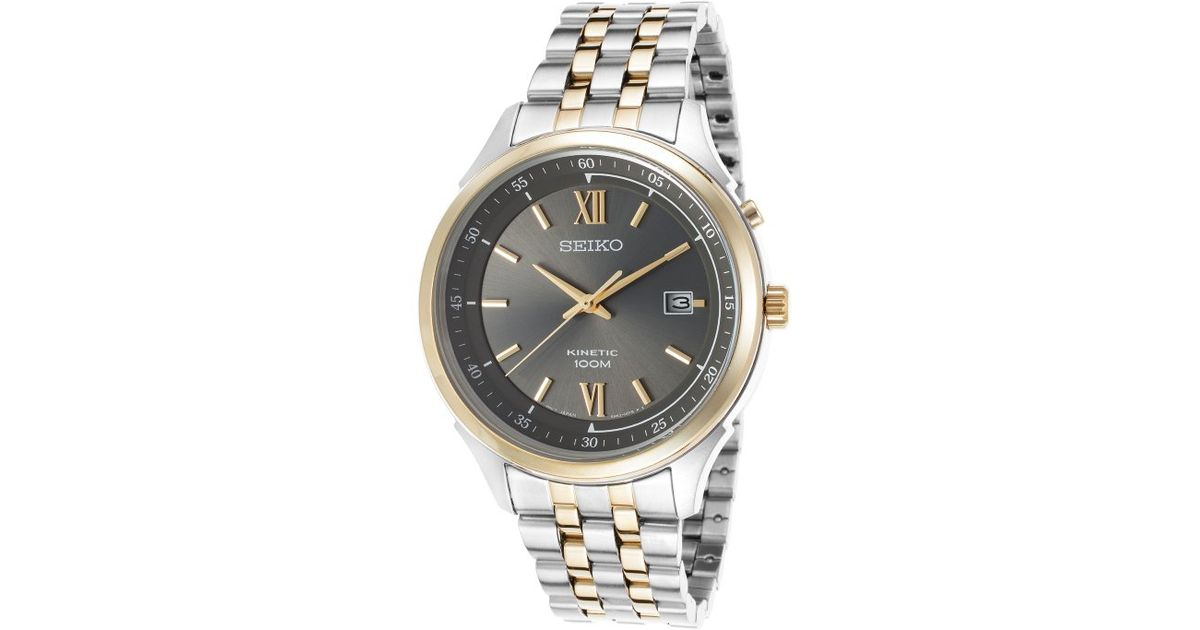 Lyst Seiko Mens Kinetic Two Tone Stainless Steel Gunmetal Dial In
