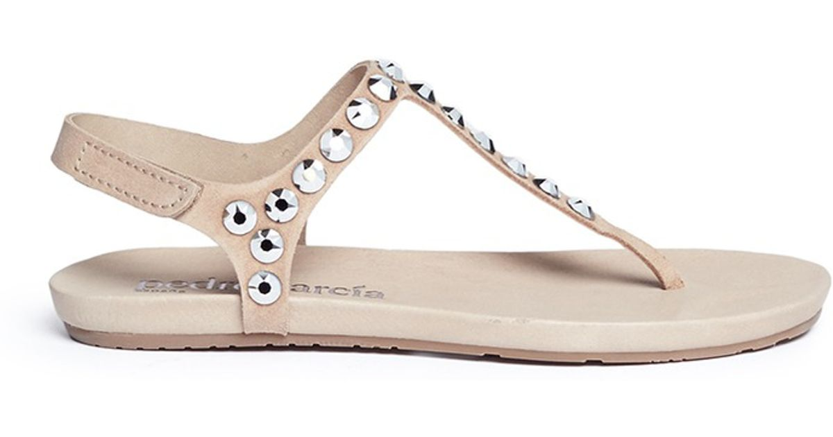 c57a567dba170f Lyst - Pedro Garcia  judith  Crystal Suede T-strap Sandals in Natural