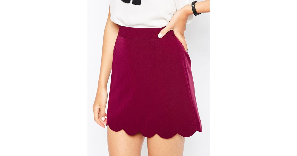 Asos A-line Mini Skirt With Scallop Hem in Pink | Lyst