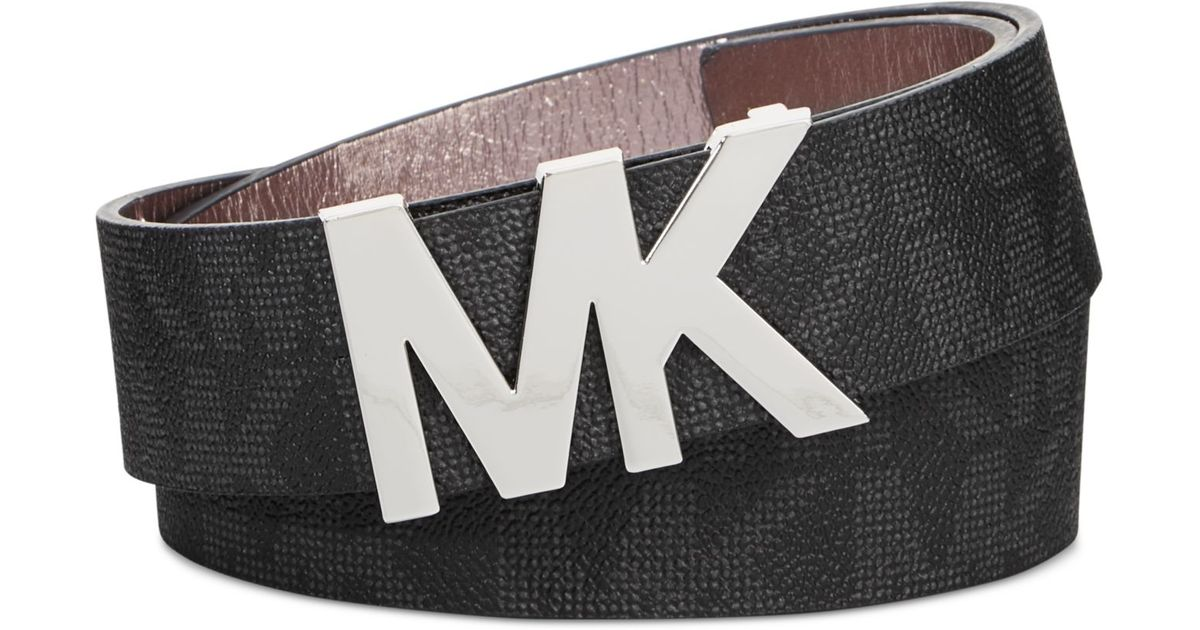 7dfac0894e39 ... discount lyst michael kors michael signature belt with mk logo plaque  in brown 9866e 5ab18