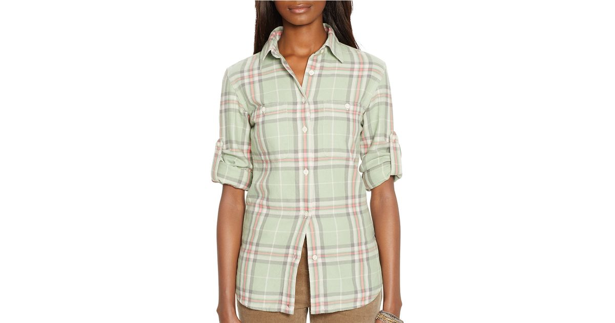 lauren by ralph lauren petite plaid button front shirt in