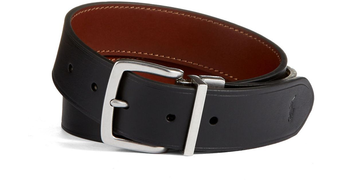 polo ralph casual reversible leather belt in black