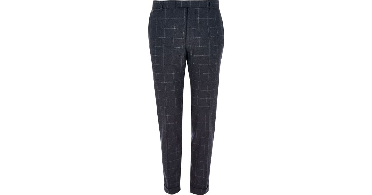 a0f492de935 River Island Navy Check Skinny Fit Cropped Trousers in Blue for Men - Lyst