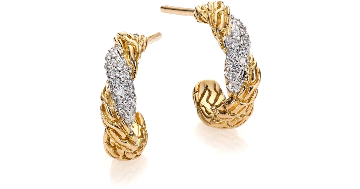 John Hardy Classic Chain 18K Multi-Hoop Earrings with Diamonds lrde7tgQ
